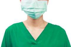 Arts met een masker op wit wordt geïsoleerd dat Stock Foto