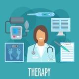 Arts met het vlakke pictogram van algemeen medisch onderzoekhulpmiddelen royalty-vrije illustratie
