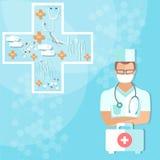 Arts met van de stethoscoopgezondheidszorg en geneeskunde medische voorwerpen Royalty-vrije Stock Afbeelding