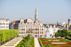 Arts Mountain square in Brussels. Morning view on the Arts Mountain square with beautiful buildings and city hall tower in Brussels, Belgium Stock Image