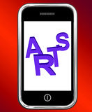 Arts On Phone Shows Creative Design Or Artwork Stock Images