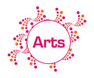 Arts Pink Orange Abstract Dots. Arts text written over pink orange background Royalty Free Stock Photography