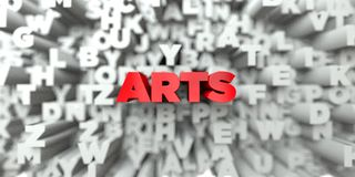 ARTS - Red text on typography background - 3D rendered royalty free stock image vector illustration