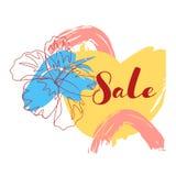 Arts rouges jaunes bleus de peinture de brosse avec le pétale de fleur de course Conception de calibre de banni?re de vente Offre illustration stock
