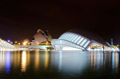 Arts and Science Center in Valencia. Night photo of the City of Arts and Science in Valencia, Spain Royalty Free Stock Images