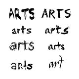 Arts spelled in various fonts. A black and white collection or set of the word art or arts spelled in various shaped fonts Royalty Free Stock Images