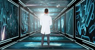 Arts status die onderaan 3D gang kijken Stock Foto
