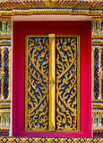 Arts temple doors carved patterns. Royalty Free Stock Photo