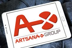Artsana pharmaceutical company logo. Logo of Artsana pharmaceutical company on samsung tablet. Artsana Group is an Italian company specialised in venipuncture Stock Photography