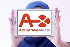 Artsana pharmaceutical company logo. Logo of Artsana pharmaceutical company on samsung tablet holded by arab muslim woman. Artsana Group is an Italian company Stock Photos