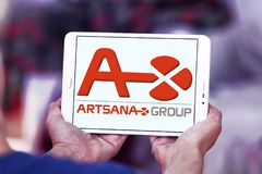 Artsana pharmaceutical company logo. Logo of Artsana pharmaceutical company on samsung tablet. Artsana Group is an Italian company specialised in venipuncture Royalty Free Stock Photography