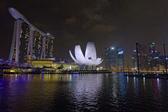 ArtScience museum and Marina Bay Sands Stock Photography