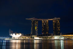 ArtScience Museum and Marina Bay Sands in Singapore Stock Photo