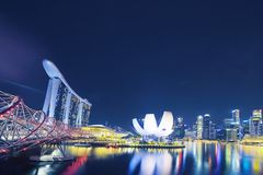 ArtScience Museum and Marina Bay Sands Singapore. Singapore. October 30, 2017: Beautiful landscape of ArtScience Museum and Marina Bay Sands Hotel Singapore at Royalty Free Stock Photo