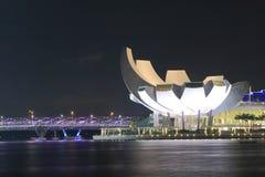 ArtSciencemuseum en Schroefbrug Singapore stock afbeelding
