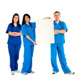 Artsen met een banner Stock Foto