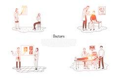 Artsen - oogarts, chirurg, otolaryngoloog, therapeut met reeks van het patiënten de vectorconcept royalty-vrije illustratie