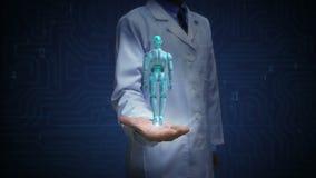 Artsen open palm, het Roterende lichaam van de transparantie 3D robot cyborg Kunstmatige intelligentie Robottechnologie stock footage