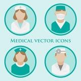 Artsen vlakke vectorpictogrammen Stock Foto's