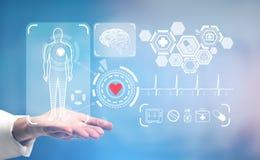 Artsens hand, medische pictogrammen en HUD Stock Afbeeldingen