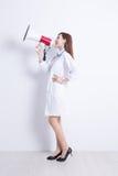 Artsenvrouw met spreker Stock Foto