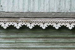 artsy περιποίηση ντεκόρ και κλασικό παλαιό ξύλινο σπίτι τριγωνικά σχέδια και ξύλινο τυρκουάζ χρώμα σύστασης Στοκ Φωτογραφίες