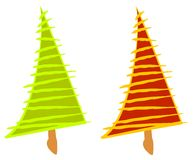 Artsy Abstract Christmas Trees royalty free stock photo