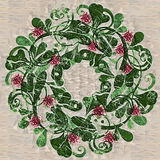 Artsy Christmas Wreath Royalty Free Stock Photography