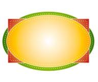 Artsy colorea la escritura de la etiqueta oval de la insignia Fotos de archivo libres de regalías