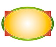 Artsy Colors Oval Logo Label. An artsy oval shaped web page logo with dotted edges in gold yellow, green and red vector illustration