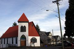 United Church United Art Center, Cumberland, British Columbia. The artsy, eclectic town on Vancouver Island, BC, on Canada`s west coast displays colourful Royalty Free Stock Images