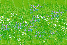 Artsy Garden Background. Beautiful background of green garden with hint of purple flowers royalty free illustration
