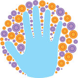 Artsy Hand. Artistic drawing of a hand with circles around it vector illustration