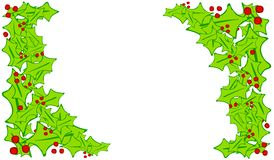 Artsy Holly Leaf Corner Borders. A clip art illustration of corner borders with a Christmas theme consisting of holly leaves and red berries isolated on white Royalty Free Stock Image