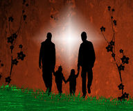 Artsy illustration of family. Artistic illustration of happy family walking hand in hand royalty free illustration