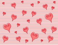 Artsy Pink Swirl Hearts Stripes Background. A background pattern featuring artsy striped pattern with swirl design pink hearts casually arranged vector illustration