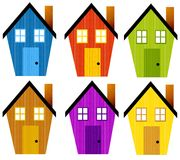 Artsy Rustic Clip Art Houses. An illustration featuring your choice of 6 artsy looking rustic clip art houses with textured stripes and bright colours vector illustration