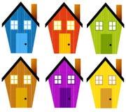 Artsy rustikale Klipp-Kunst-Häuser vektor abbildung
