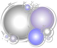 Artsy Silver Spheres Pattern. A background pattern featuring light colored circles, balls, or spheres casually arranged in overlapping style with silver, blue stock illustration