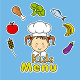 żartuje menu Dziewczyna szef kuchni Fotografia Stock