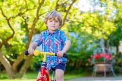 Żartuje napędowego trójkołowa bicykl w ogródzie lub Obraz Stock