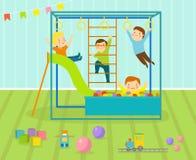 Żartuje playroom z lekkim meblarskim wystroju boiskiem i bawi się na podłogowej dywanowej dekoruje mieszkanie stylowej kreskówce ilustracji