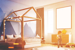 Żartuje s sypialni wnętrze, plakat, kąt, chłopiec Fotografia Stock