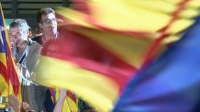 Artur Mas Celebrating Victory in Catalaanse Verkiezingen stock videobeelden