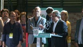 Artur Mas Celebrating Victory in Catalonië stock footage