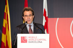 Artur Mas at MWC 2012. The President of the Catalan Government, Artur Mas speaks at the official inauguration act at the Mobile World Congress 2012, on 27/02/ Royalty Free Stock Photo
