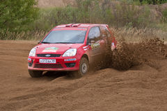 Artur Pirozhkov drives a red Ford Fiesta Royalty Free Stock Image