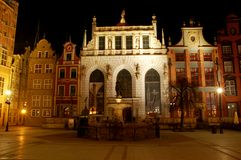 Artus Court (Gdansk). Artus Court in Gdansk by night Royalty Free Stock Images