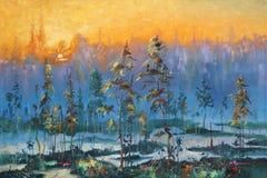 artwork Alvorecer na tundra Autor: Nikolay Sivenkov Fotografia de Stock