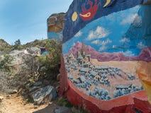 Artwork in the Arizona desert. Rock murals outside of Chloride, Arizona Stock Images